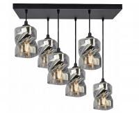 Skleněný závěsný lustr LED Plafon s obdélnikovou kontrukcí šedá (VÝPRODEJ)