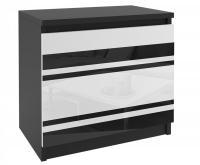 Noční stolek GEOMETRIC Černá - Černá/Bílá lesklá