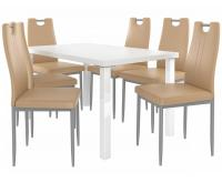 Kvalitní set ROBERTO stůl a židle Bílá/Cappucino (1stůl, 6židlí)
